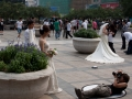brides posing for pictures while dance teams practice in the background